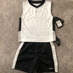 Nike 2pc set black/white jersey muscle tank&short